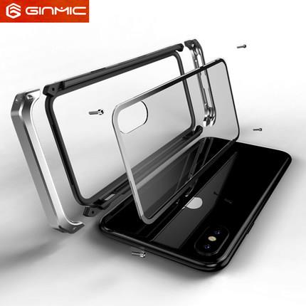 iphone X transparent Military metal case casing cover + Tempered Glass