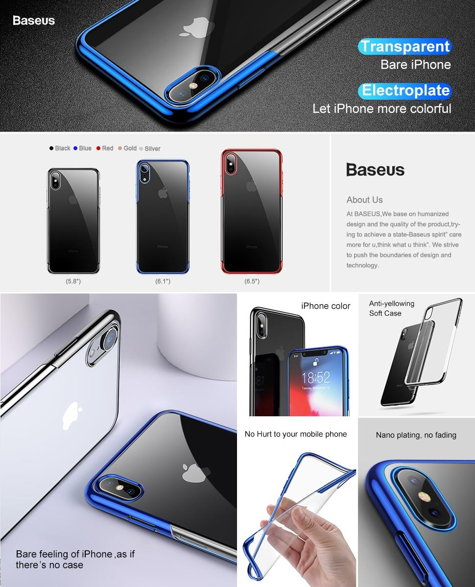 online store 2b34f bafc6 iPhone Xs MAX BASEUS Shining TPU Protection Transparent Case Cover