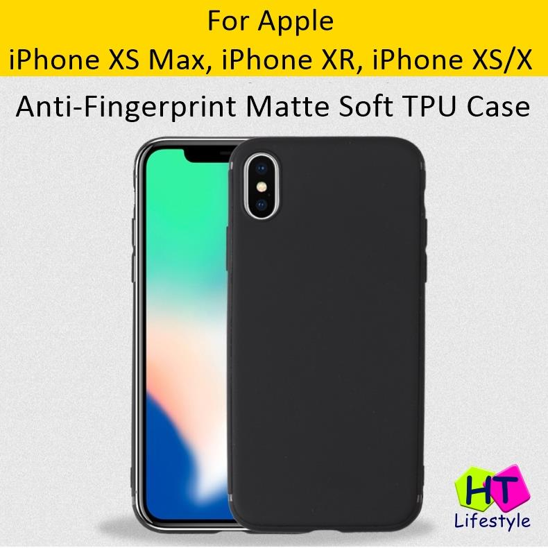 detailed pictures 47cce 9df0e iPhone XS Max,XR,XS,X Anti Fingerprint Shockproof Matte Black TPU Case