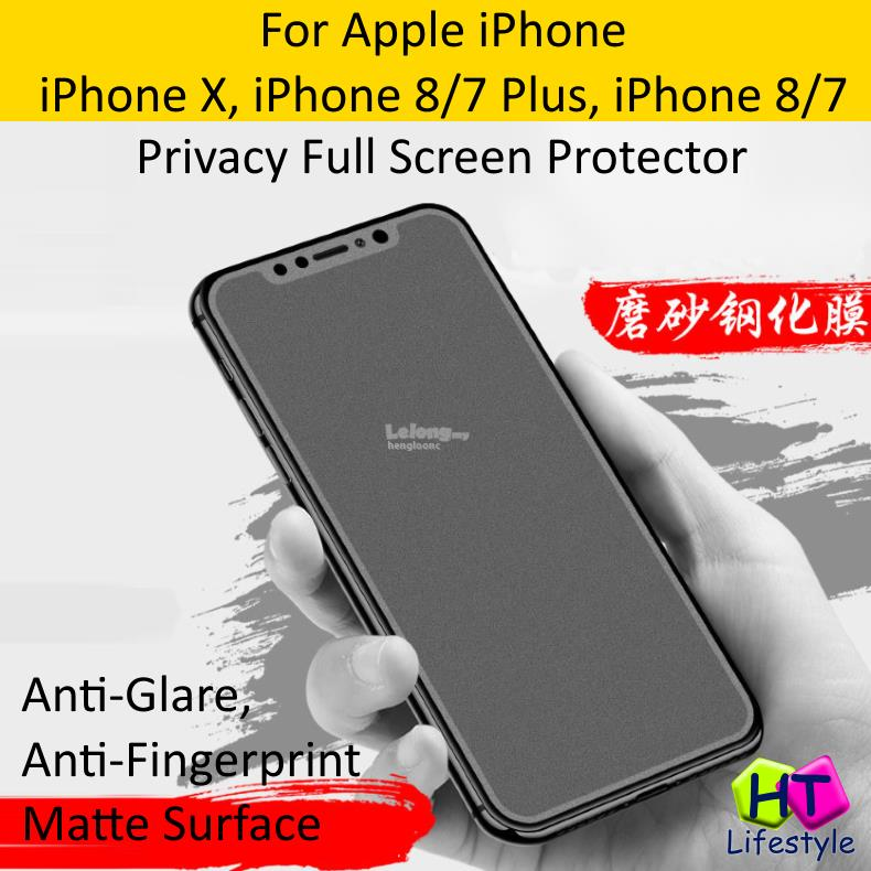 iPhone XS / X,8/7,Plus Anti-Fingerprint Privacy Full Screen Protector