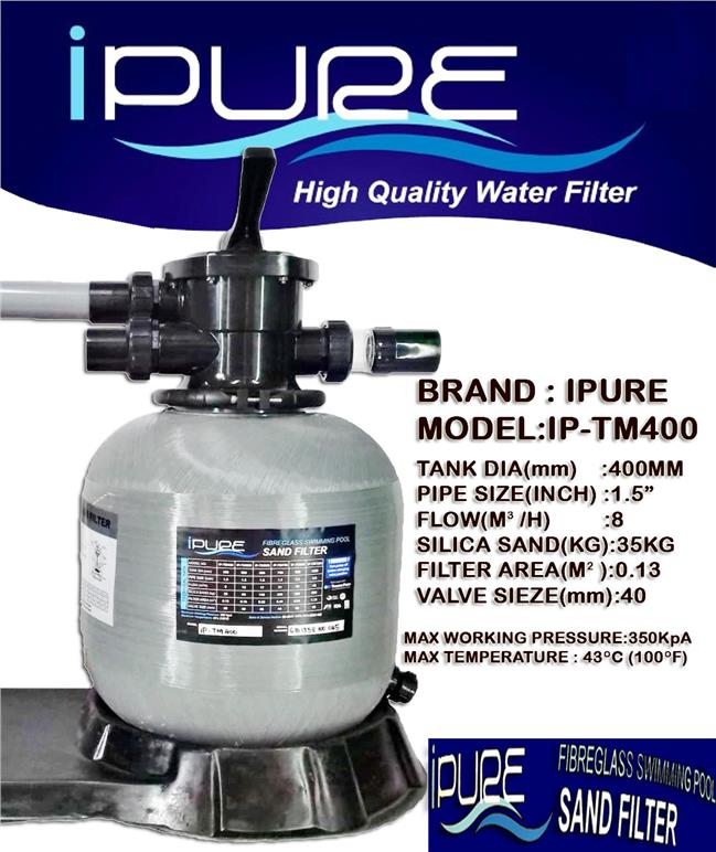 IPURE iP-TM400 Swimming Pool Sand Filter 400MM Recycle Sand Filter