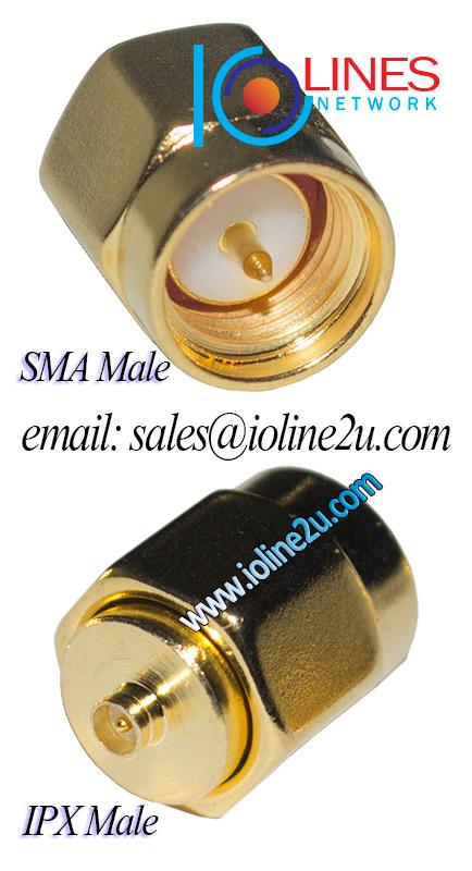 IPX male to SMA male full copper + gold plated converter adapter