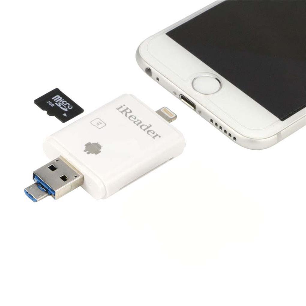 super popular 7e2b3 c4ca3 iReader 3 IN 1 Lighting USB Micro-SD Card Reader For iPhone IPAD