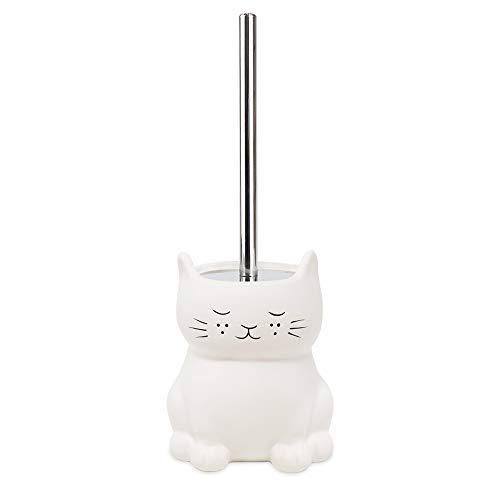 Cat White Ceramic Cat Toilet Bowl Brush Holder with Chrome Metal Handle