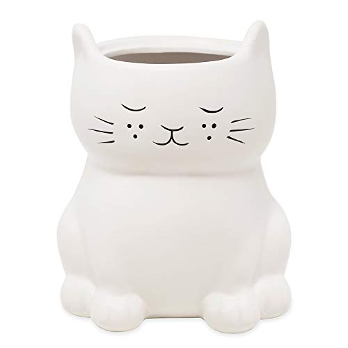 Isaac Jacobs White Ceramic Unicorn Toilet Bowl Brush Holder with Chrome Metal