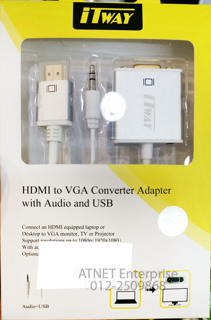 ITWAY HDMI TO VGA CONVERTER ADAPTER WITH AUDIO & USB US09018