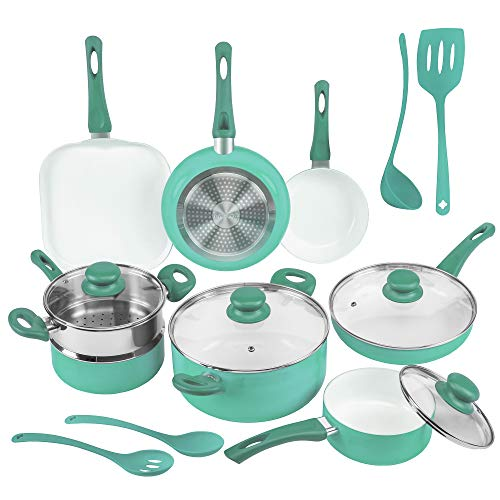 Ivation Ceramic Cookware | 16-Piece Nonstick Cookware Set with Induction Base,