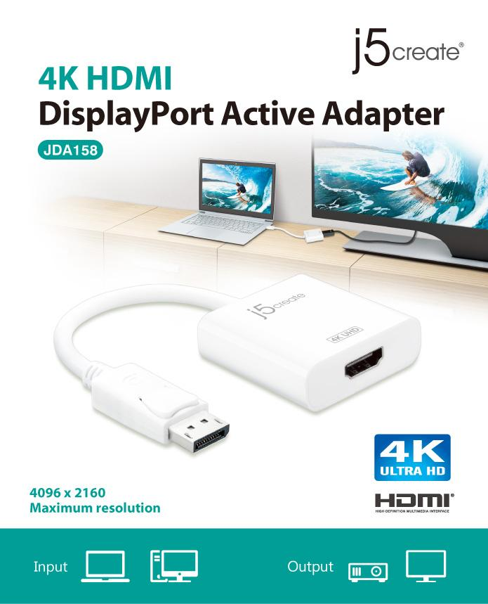 J5 Create DisplayPort to 4K HDMI Active Adapter (JDA158)