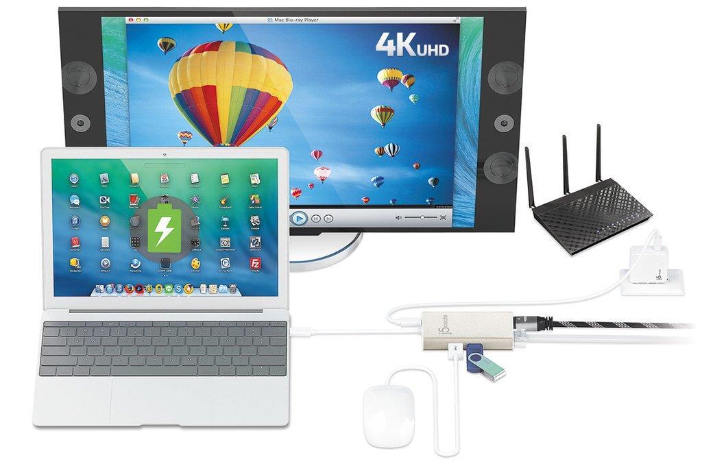 J5 Create JCA374 Type-C Multi-Adapter HDMI/Ethernet/USB 3 0 Hub/PD 2 0