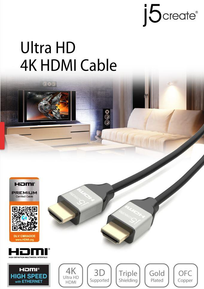 J5 CREATE ULTRA HD 4K HDMI CABLE 2 Meter (JDC52)