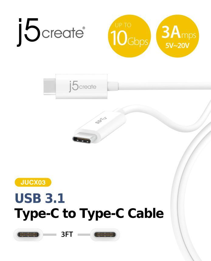 J5 CREATE USB 3.1 TYPE-C TO TYPE-C CABLE (JUCX03)
