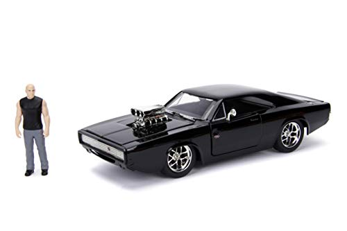 JADA Toys Fast  & Furious Dom  & Dodge Charger R/T, 1: 24 Scale Black Die-Cast