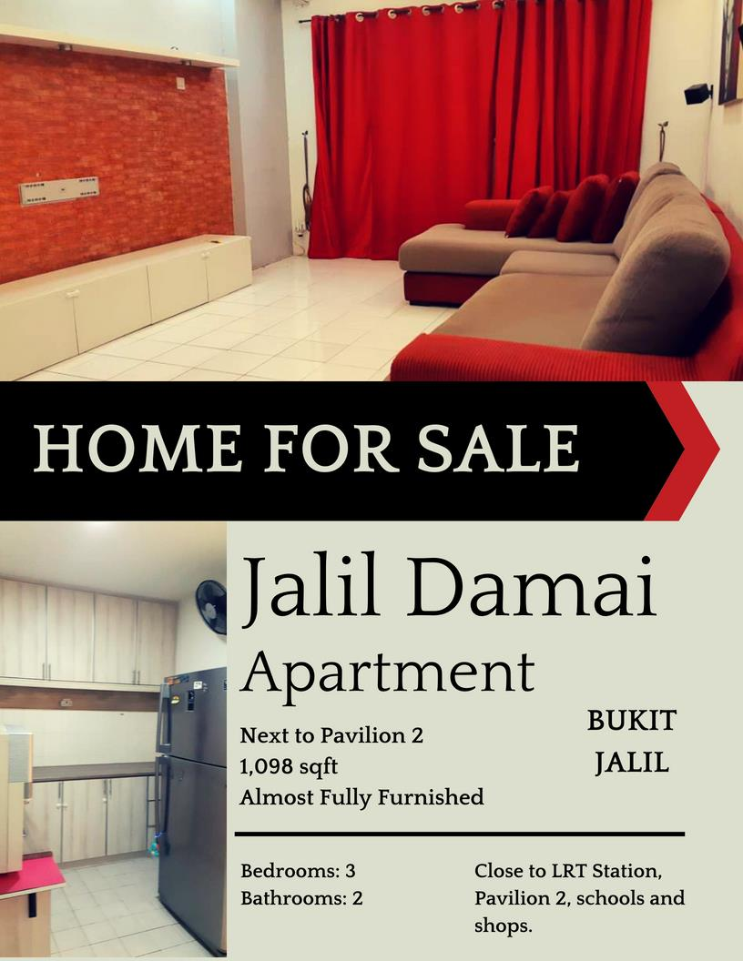 Jalil Damai Apartment for sale, Next to Pavilion 2, Bukit Jalil