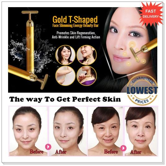 Japan 24K Gold T Bar Beauty Face Slimming Firming Vibration Massage