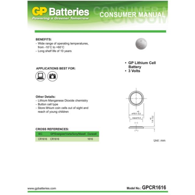 [Made In Japan] GP CR1616 Lithium Coin Battery (5pcs)