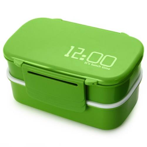 An Style Double Tier Bento Box Pp Cute Microwave Green