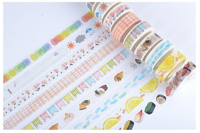 Japan Washi Paper Tape Sticker Scrapbook Pink Blossom Daisy 1.5cm 10m