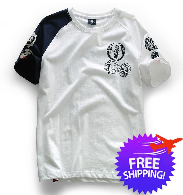 exquisite style On Clearance official site Japanese Design Men Short Sleeve Round Neck Graphic Printing T-Shirt