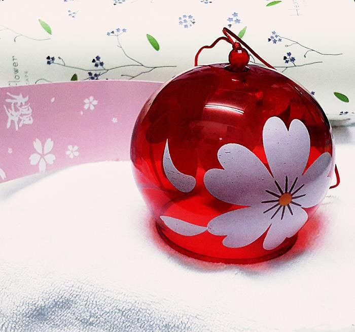 Japanese Glass Wind Chime Graduation Gift Decor Red Cherry Blossom