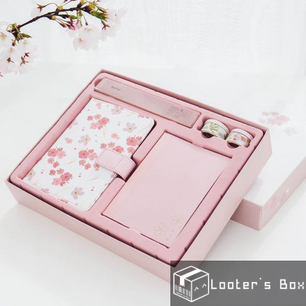 Japanese Sakura Pink PU Leather Planner Notebook Gift Set (I1819)