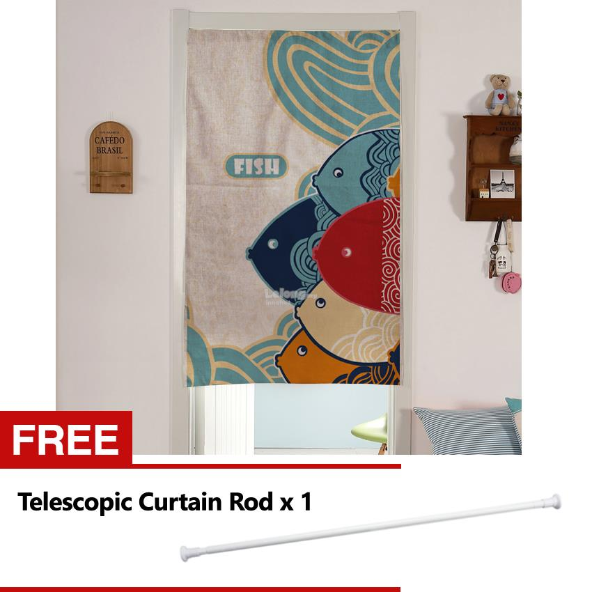 Japanese Style Cotton Linen Door Curtain Half Curtain (FOC Rod)