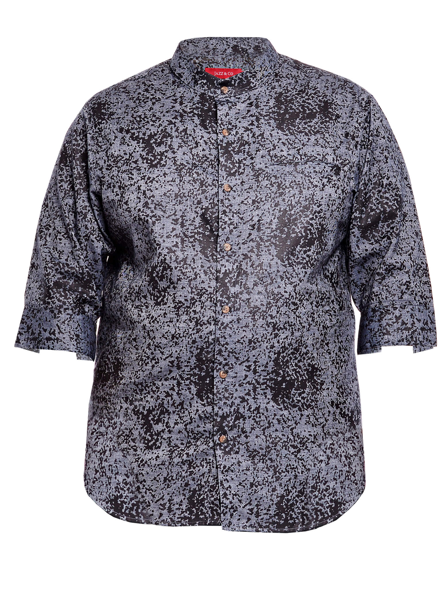 Jazz & Co Men Plus Size 3/4 sleeve printed chambray shirt in charcoal