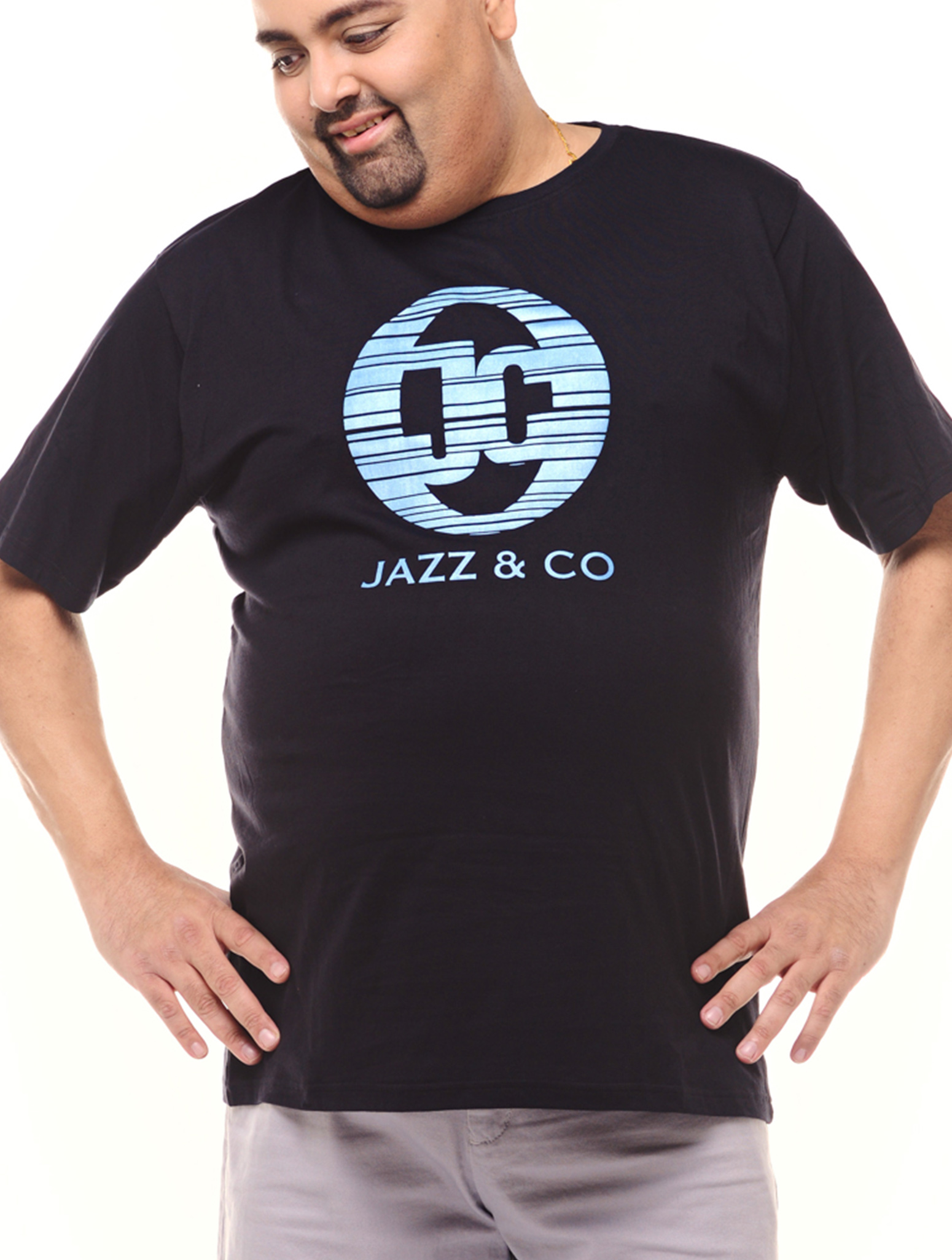 Jazz & Co Men Plus Size black short sleeve logo tee