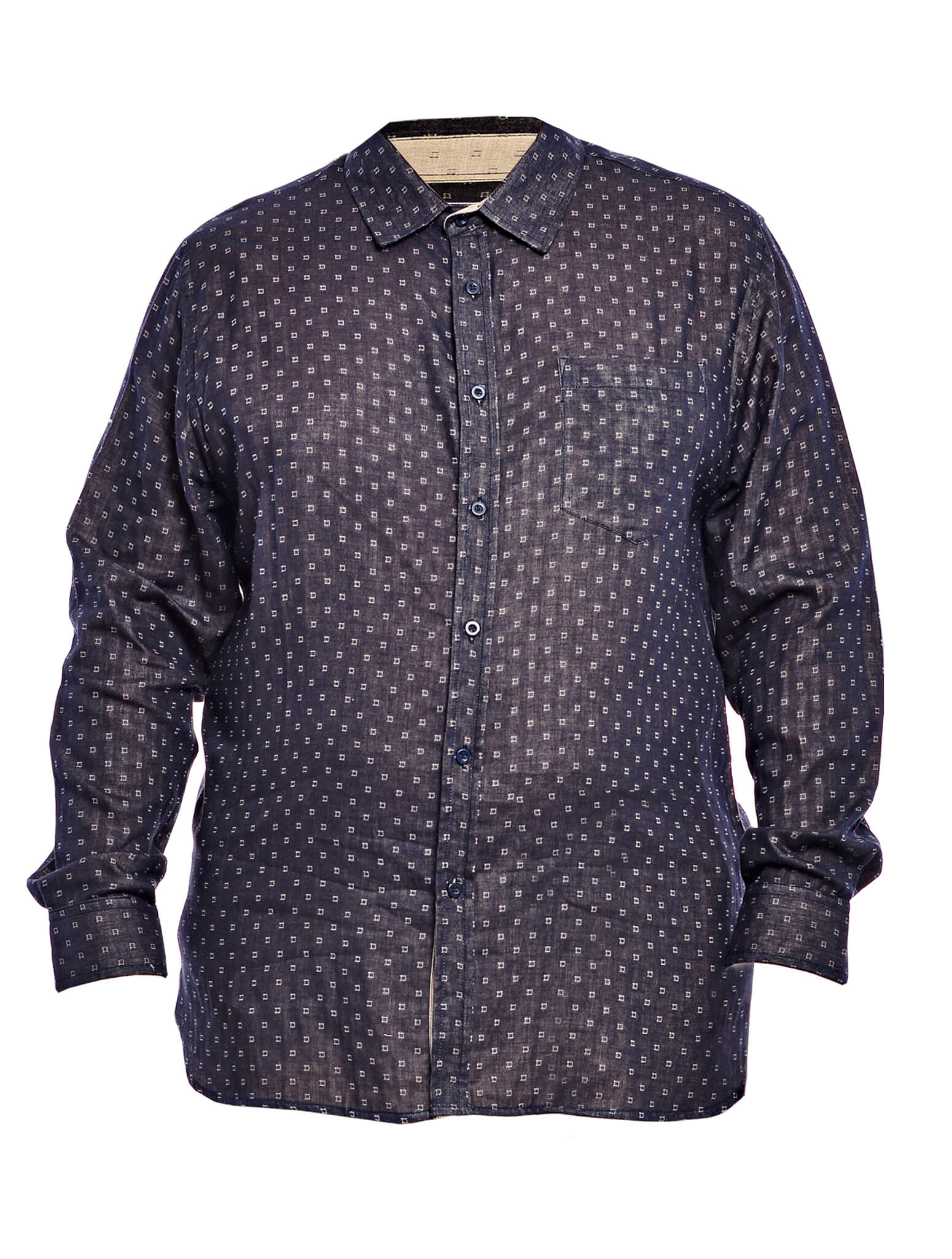 Jazz & Co Men Plus Size Double cloth long sleeve shirt in Black