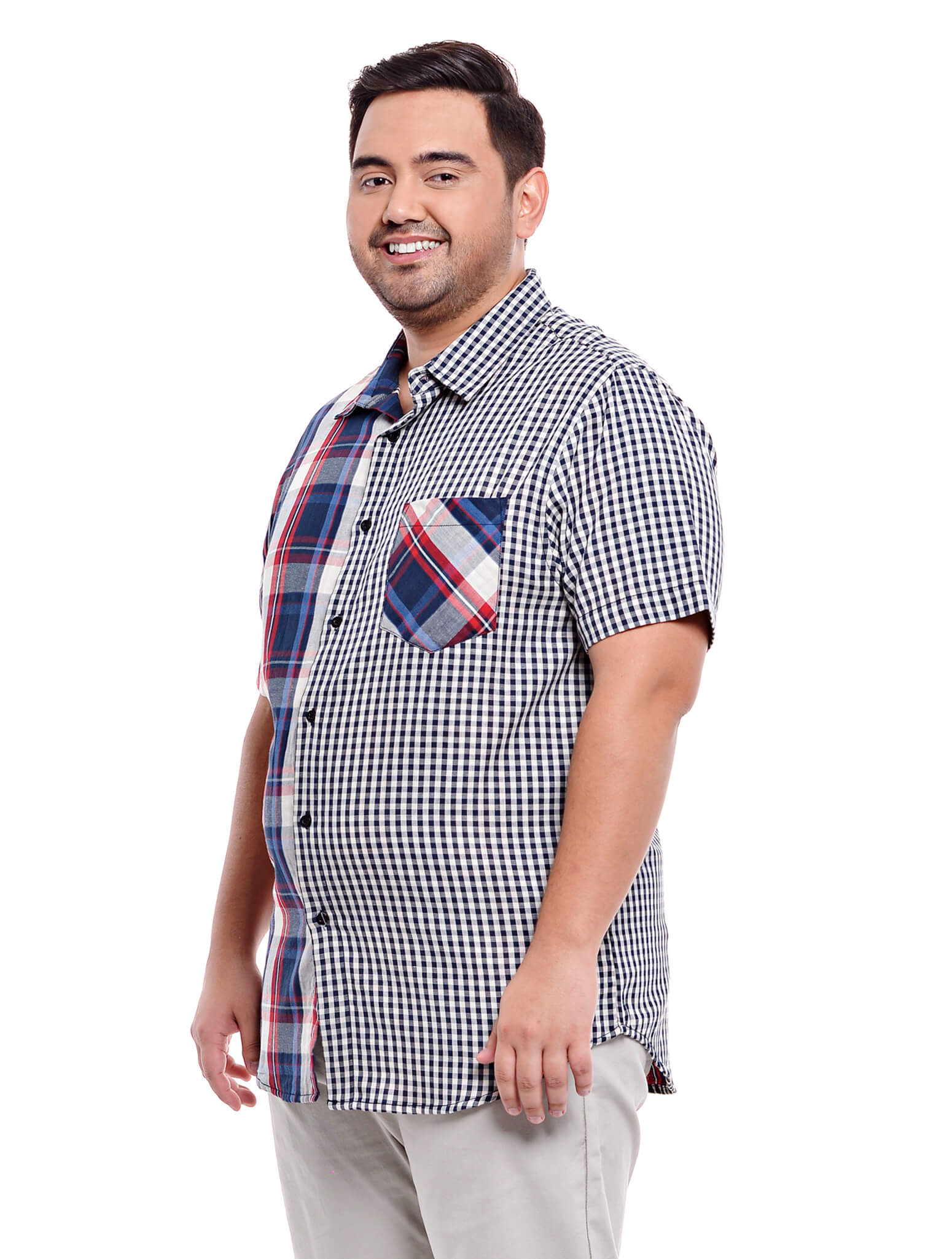 Jazz & Co Men Plus Size Double cloth short sleeve shirt in Navy