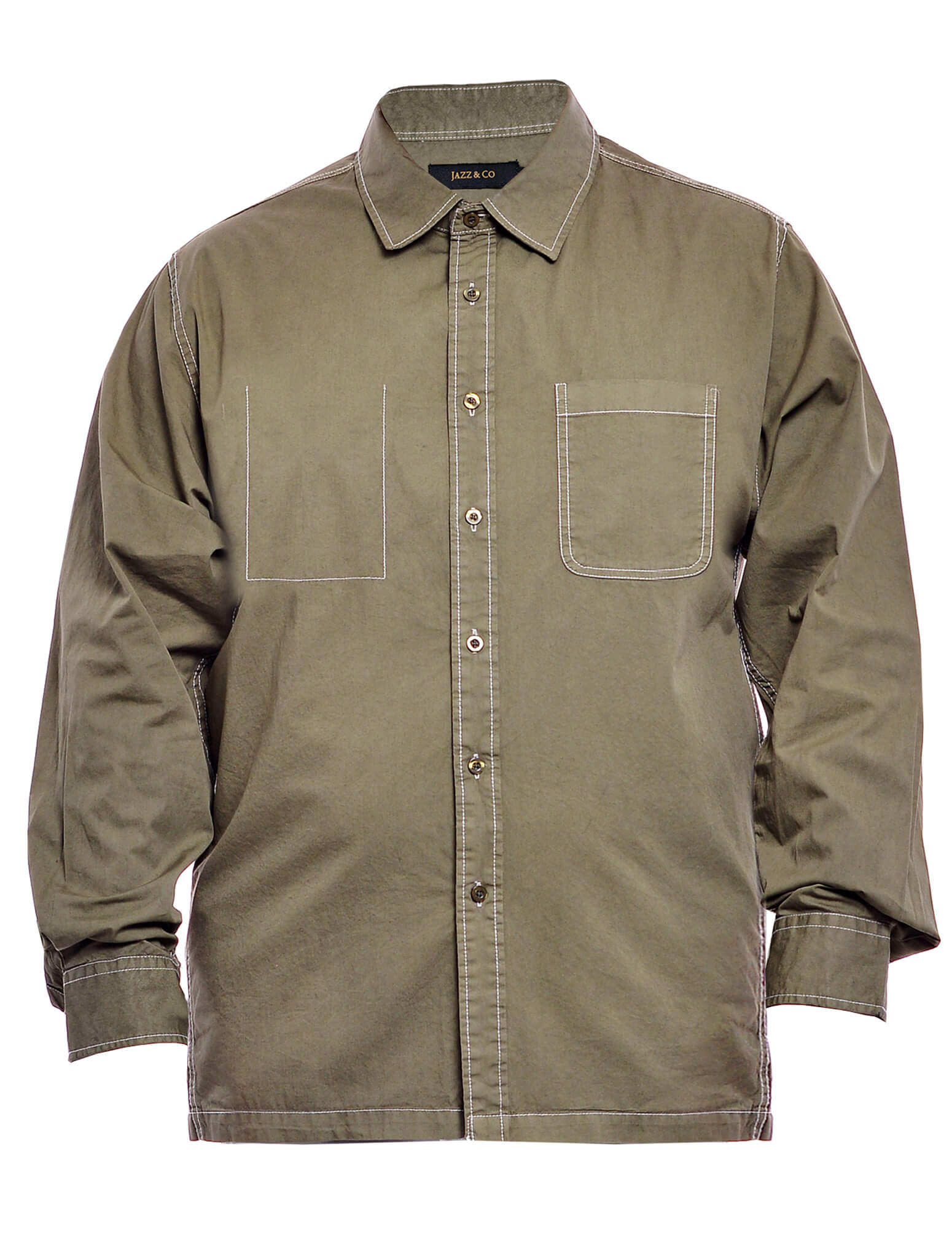 Jazz & Co Men Plus Size Long sleeve shirt in Olive