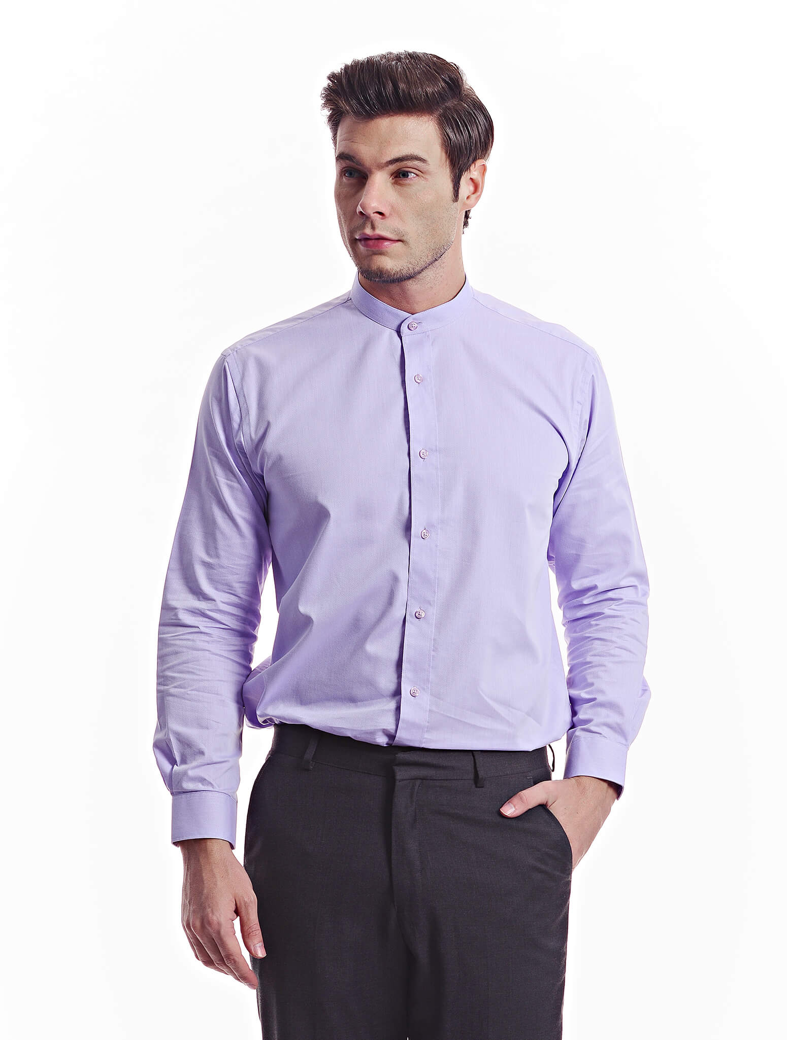 Jazz & Co Men Standard Size light purple long sleeve diamond shirt