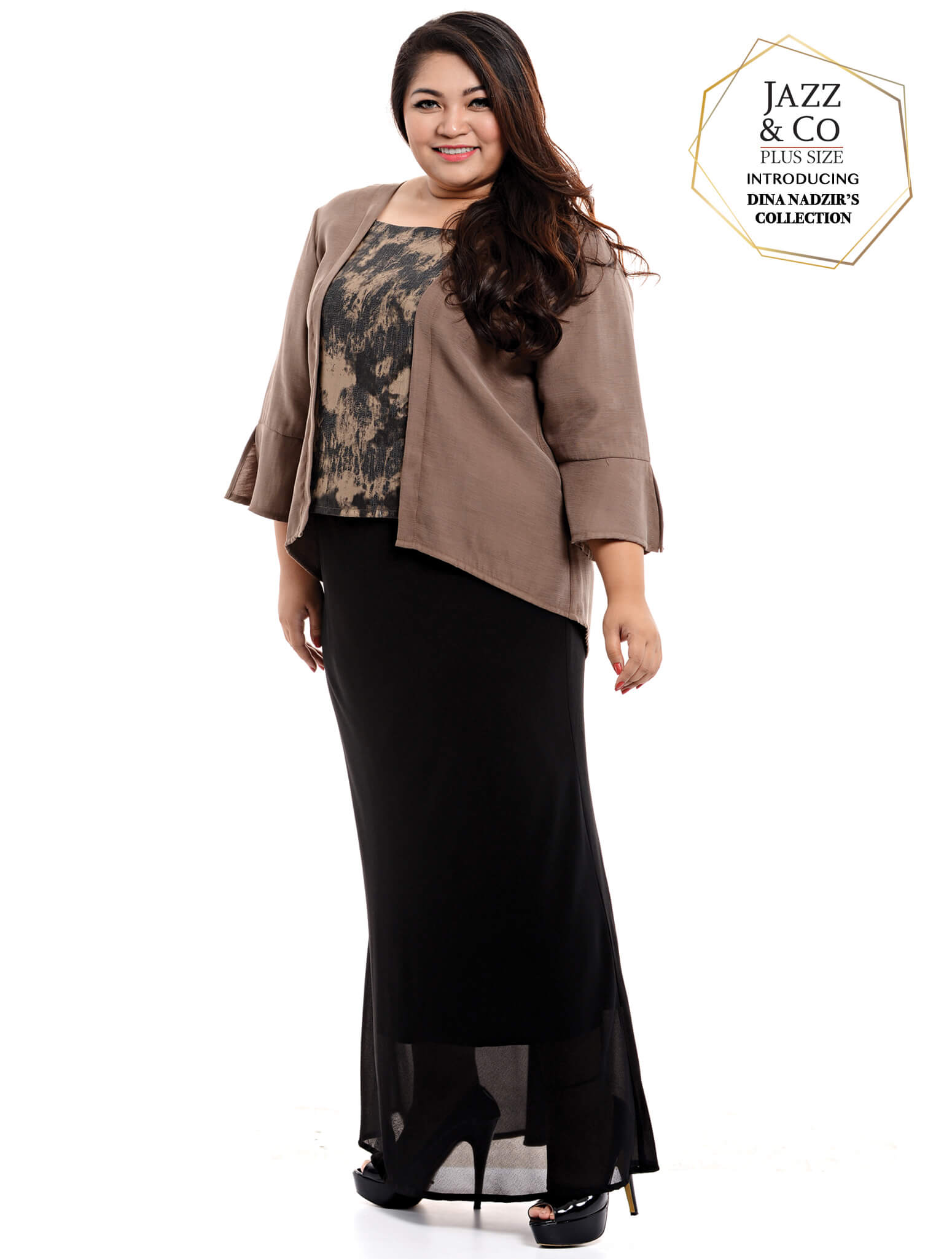 Jazz & Co Women Plus Size 3/4 sleeve kurung top in Dark Brown