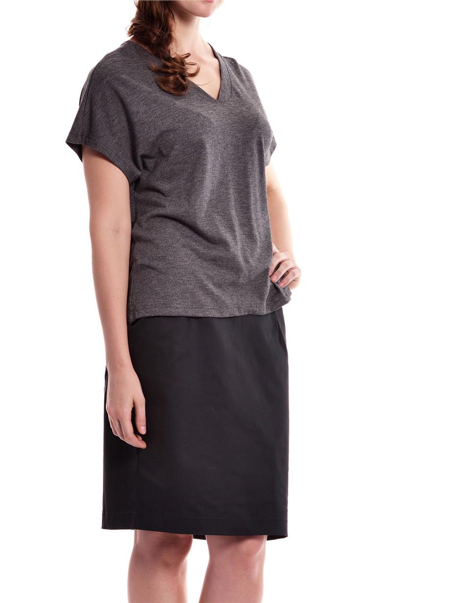 Jazz & Co Women Plus Size Dk Grey Short Sleeve V- Neck Asymmetric Hem ..