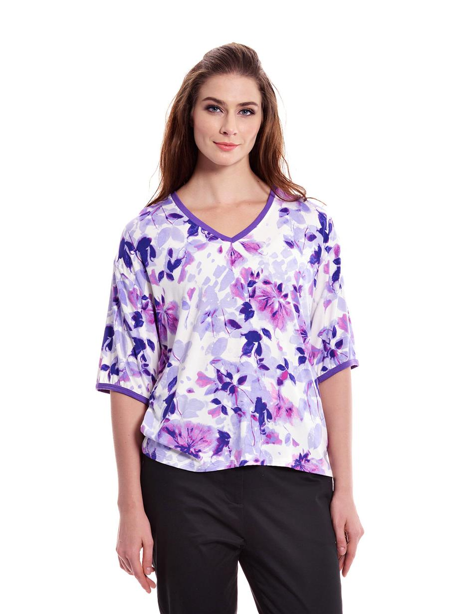 Jazz & Co Women Plus Size Purple Floral Short Sleeve V-Neck Tee
