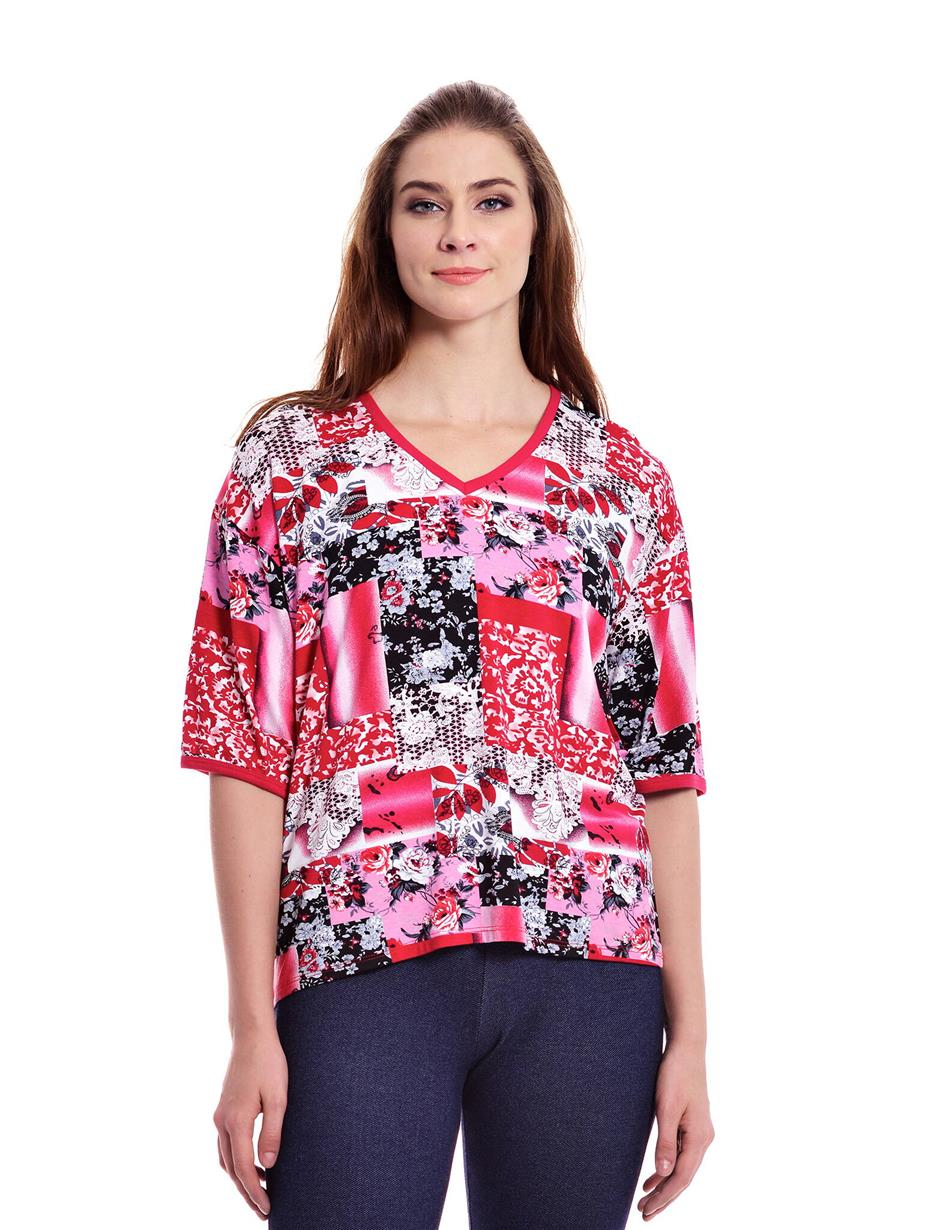 Jazz & Co Women Plus Size Red Printed Short Sleeve V-Neck Tee