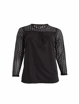 Jazz & Co Women Standard Size Black Long Sleeve Lace Top