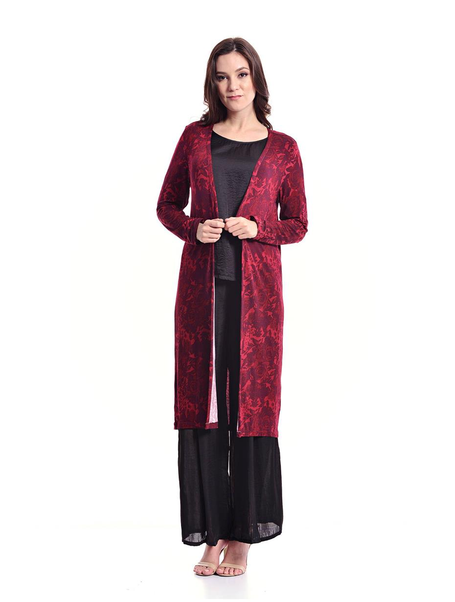 Jazz & Co Women Standard Size Dk Maroon Long Printed Cardigan