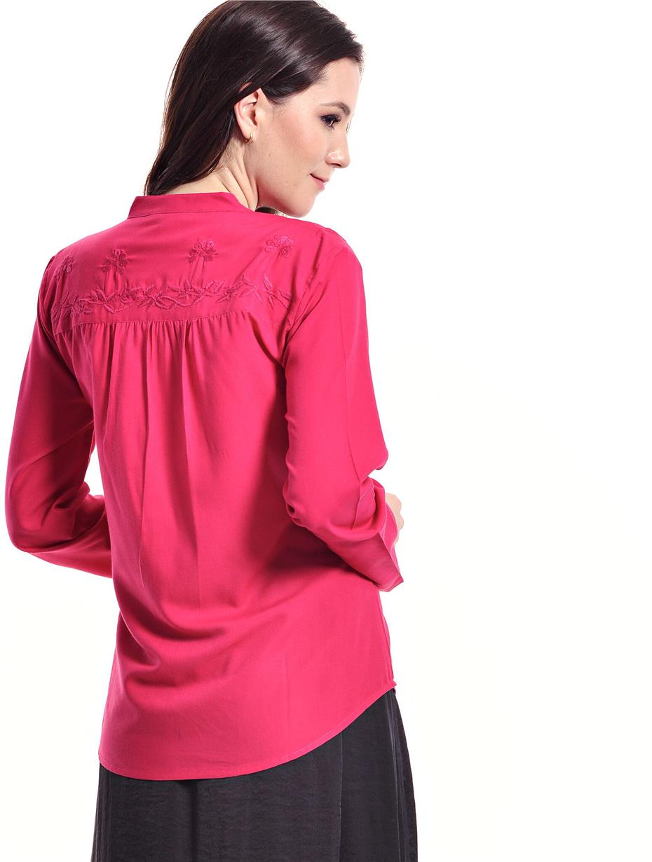 Jazz & Co Women Standard Size Long Sleeve Dk Pink Embroidered Top