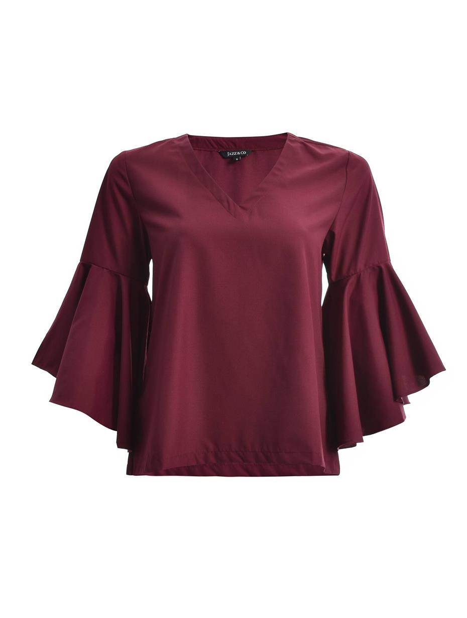Jazz & Co Women Standard Size Maroon Wide Sleeve V-Neck Top