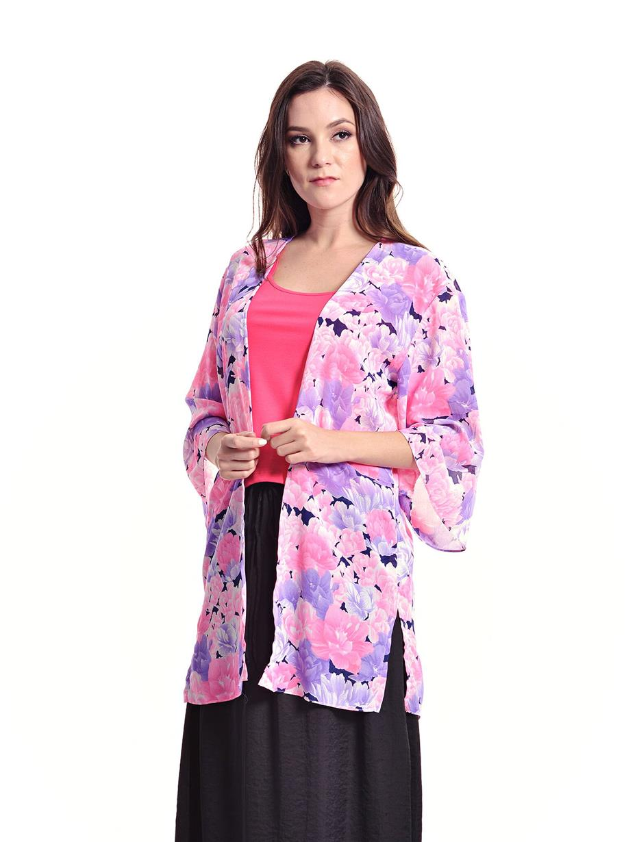 Jazz & Co Women Standard Size Pink Floral Wide Sleeve Long Cardigan