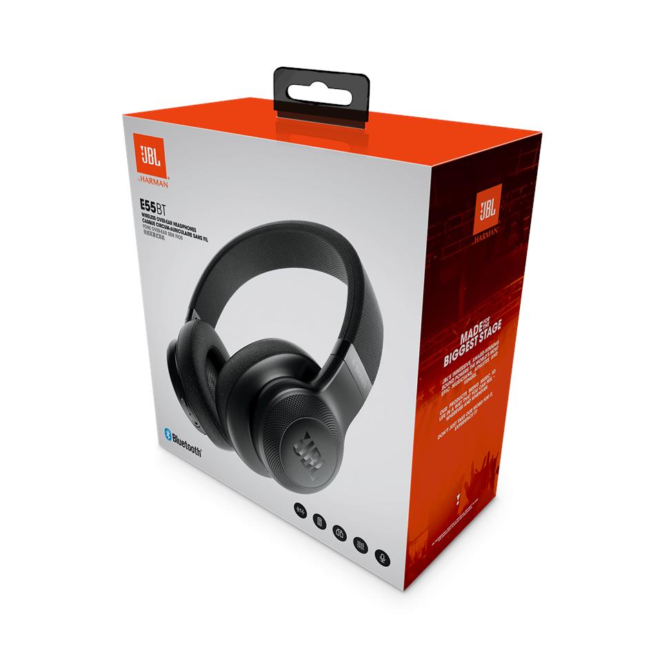 JBL E55BT Bluetooth Wireless Over-Ear Headphones Signature Sound - Black