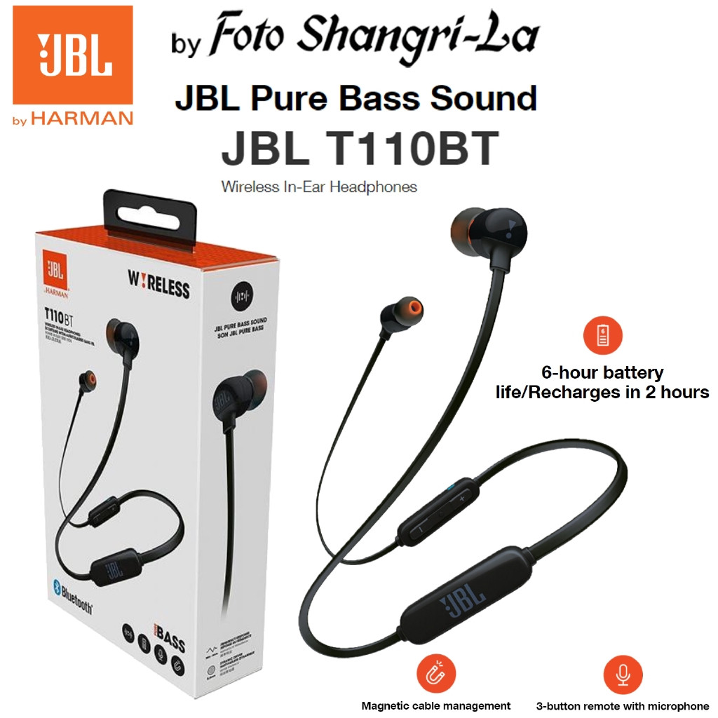 JBL T110BT Wireless In-Ear Headphones Pure Bass Sound Magnetic Cable (Black)