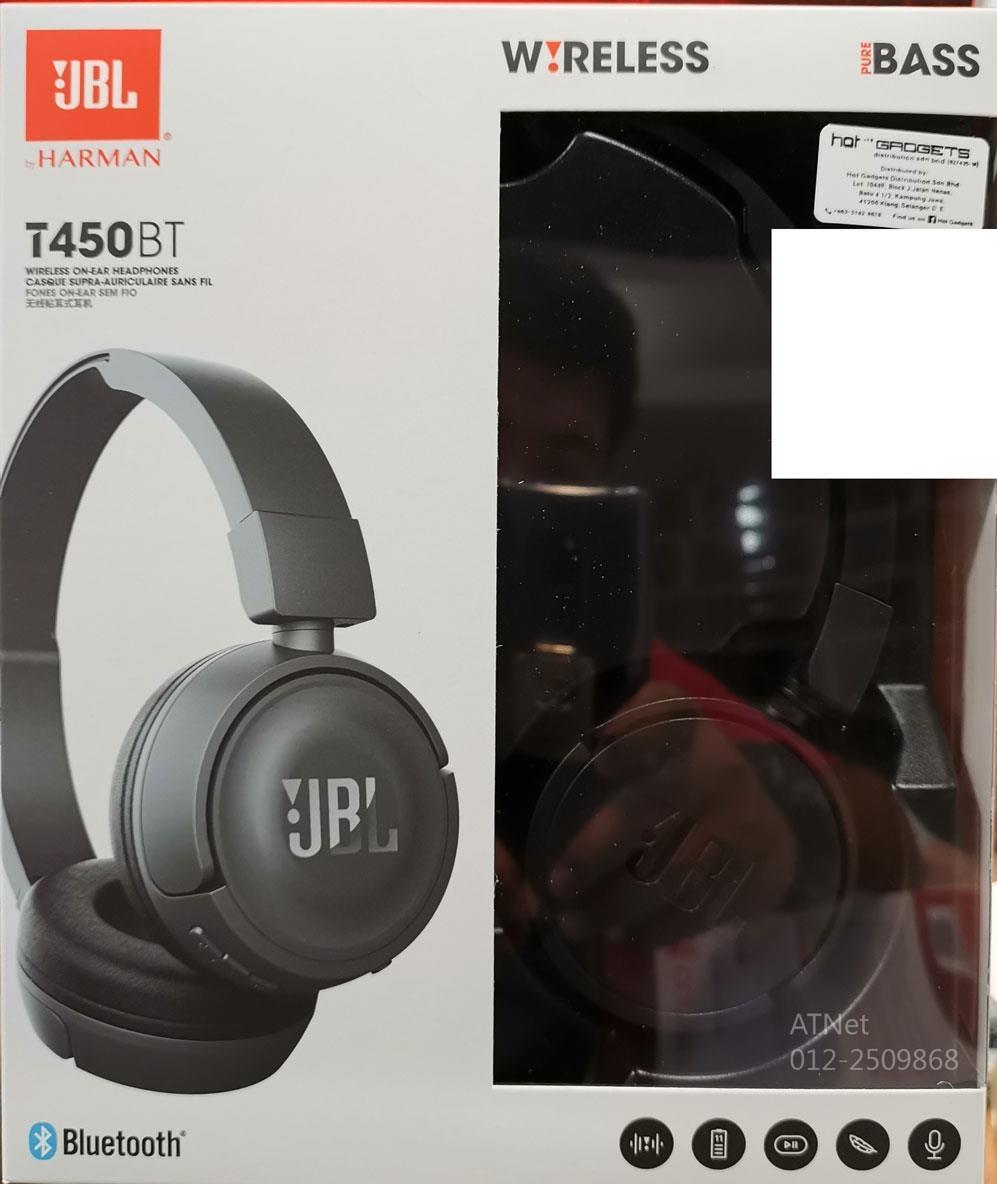 JBL T450BT WIRELESS BLUETOOTH ON-EAR HEADSET BLACK