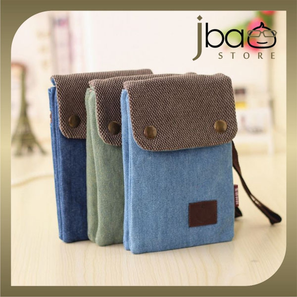 Jeans Fabric Wristlet Sling Bag Smartphone Mobile Pouch