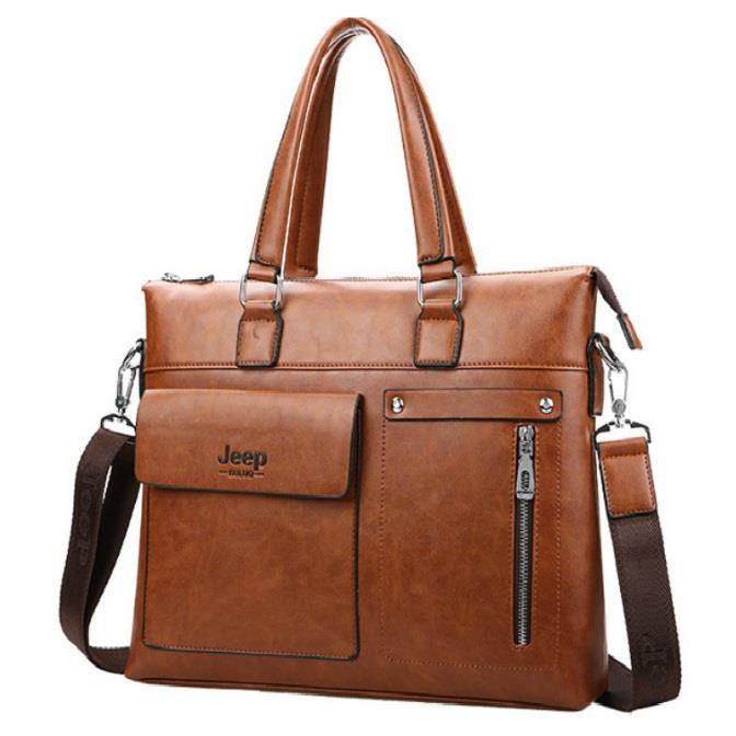 Jeep Brands Men Handbags Briefcase Leather Shoulder Bags
