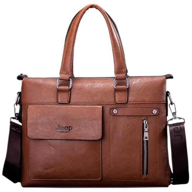 5abf41db71 Jeep Buluo Genuine Leather Briefcase Men Handbags 14 inch Laptop Bags. ‹ ›