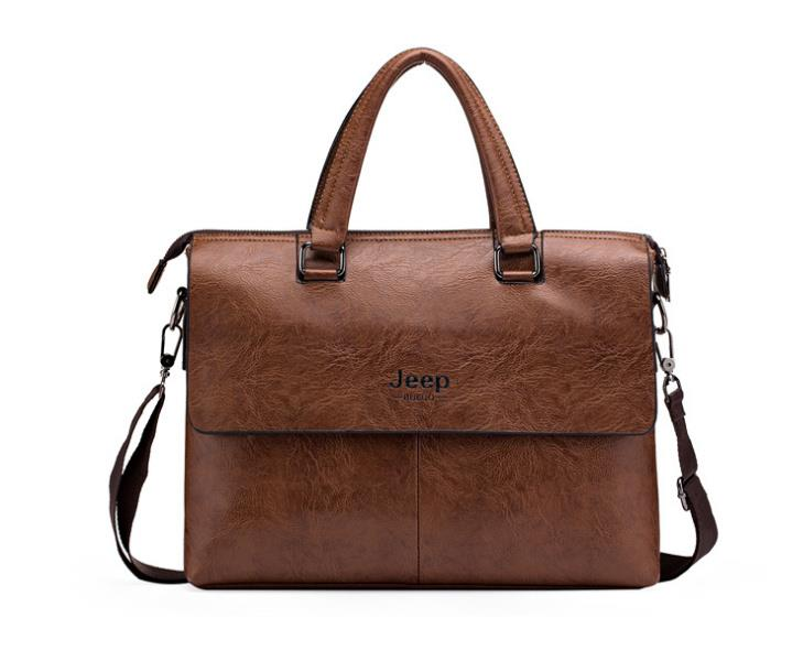 28795ddb93f8 Jeep Buluo Men Business Briefcase Leather Shoulder 14 inch Laptop Bags. ‹ ›