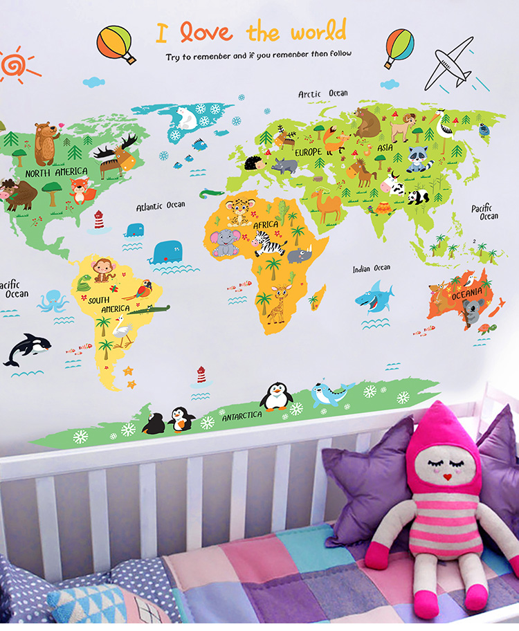 Jg cartoon world map diy wall sticke end 1162018 639 pm jg cartoon world map diy wall sticker gumiabroncs Images