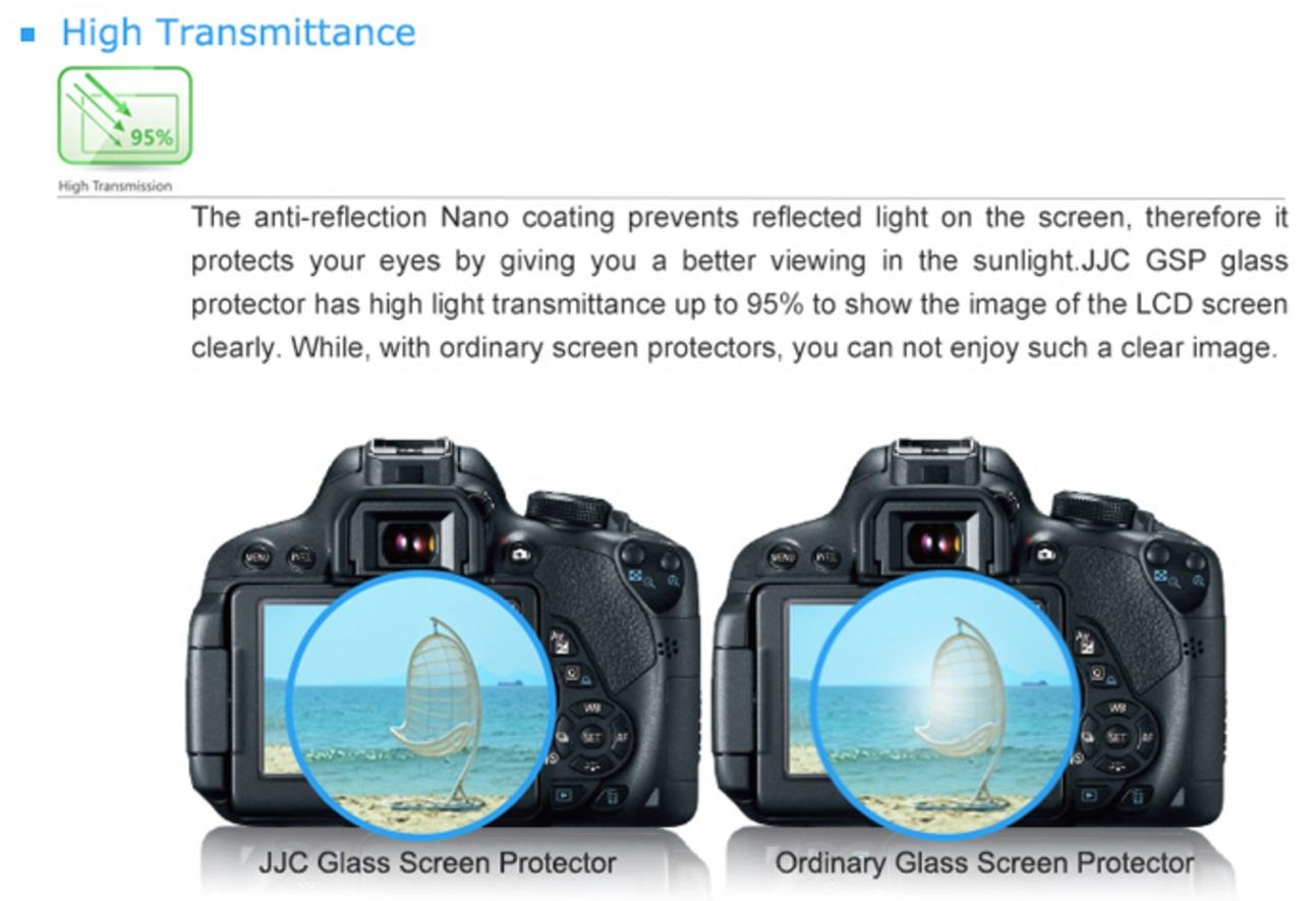 JJC GSP-700D Optical Glass LCD Screen Protector for Canon 650D 700D