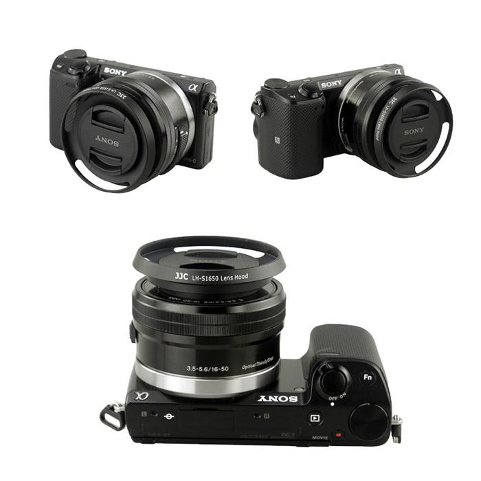 sony 16 50mm. jjc lh-s1650 (black) metal lens hood 40.5mm for sony 16- sony 16 50mm